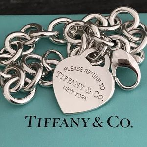 "Tiffany & Co 925 Return To Heart Tag Bracelet 7"""